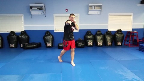 Devin showing basic kickboxing
